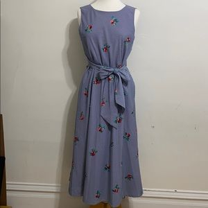 Anne Klein Gingham Dress with Embroidered Flowers